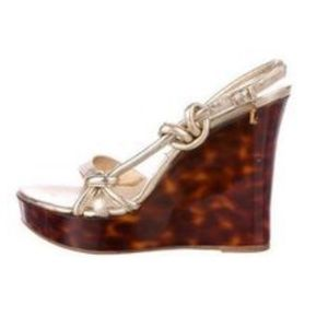 Christian Dior Gold Leather Tortoise Wedge Sandals